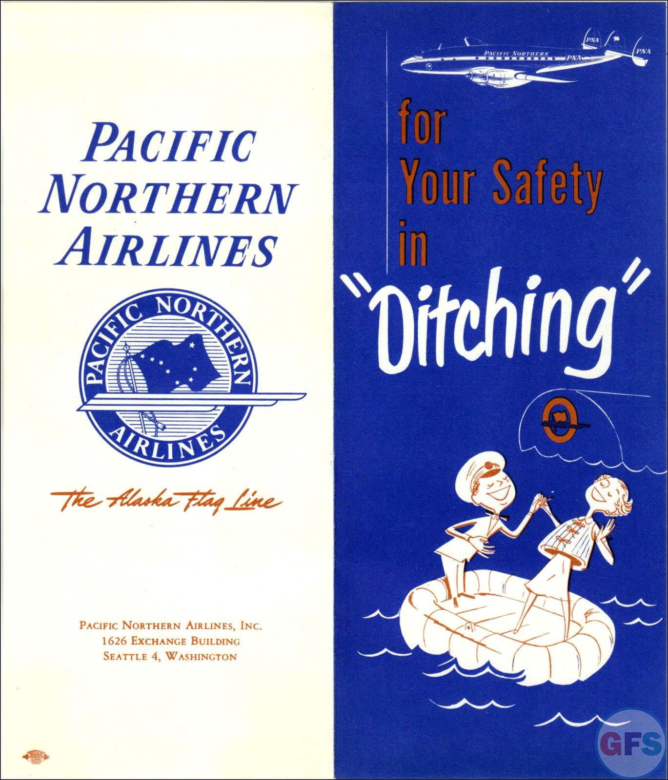 "For Your Safety in ""Ditching"" (1950s Pacific Northern Airlines Safety Brochure)"