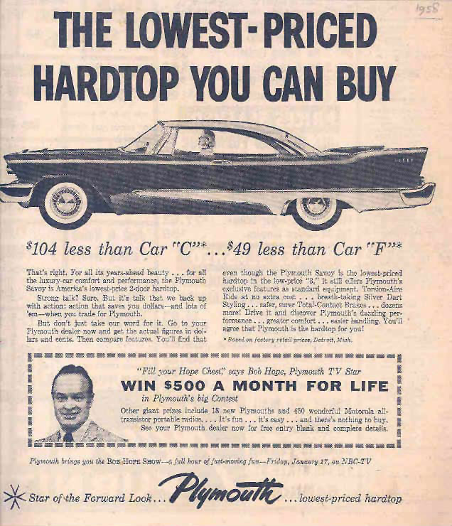 1958 Plymouth contest ad with Bob Hope
