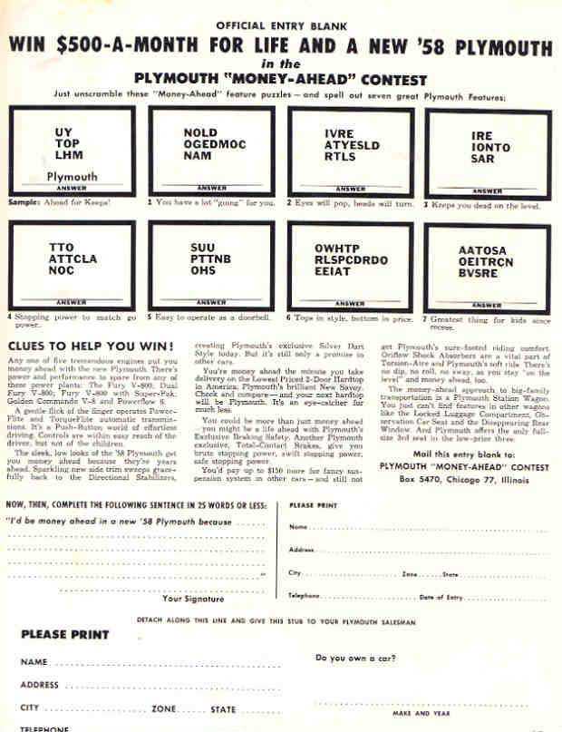"1958 Plymouth ""Money-Ahead"" Contest Form"