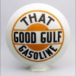 Gulf vintage gas pump globe