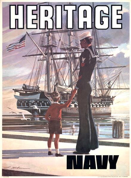 """Heritage"" U.S. Navy recruiting poster, Vietnam War era"