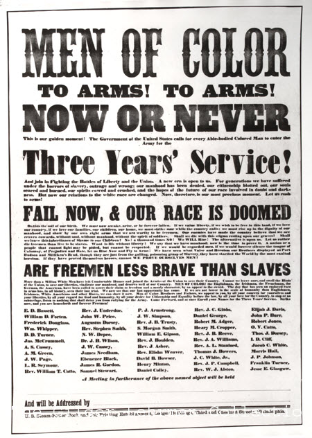 """Men of Color: To Arms! To Arms!"" Civil War Broadside, ca. 1863."