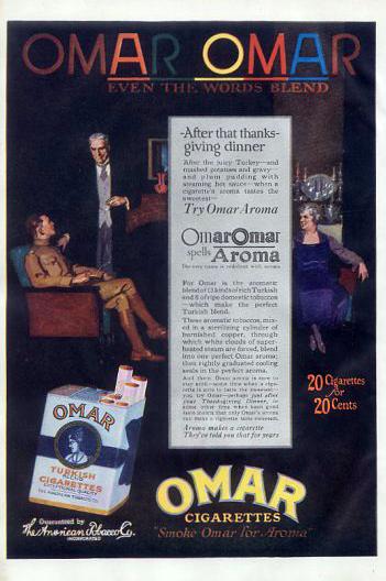 Omar cigarettes 1918 Thanksgiving ad