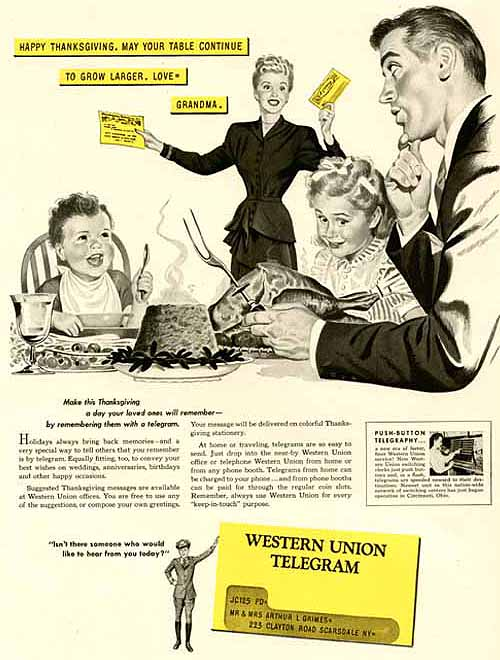 Western Union 1947 Thanksgiving ad