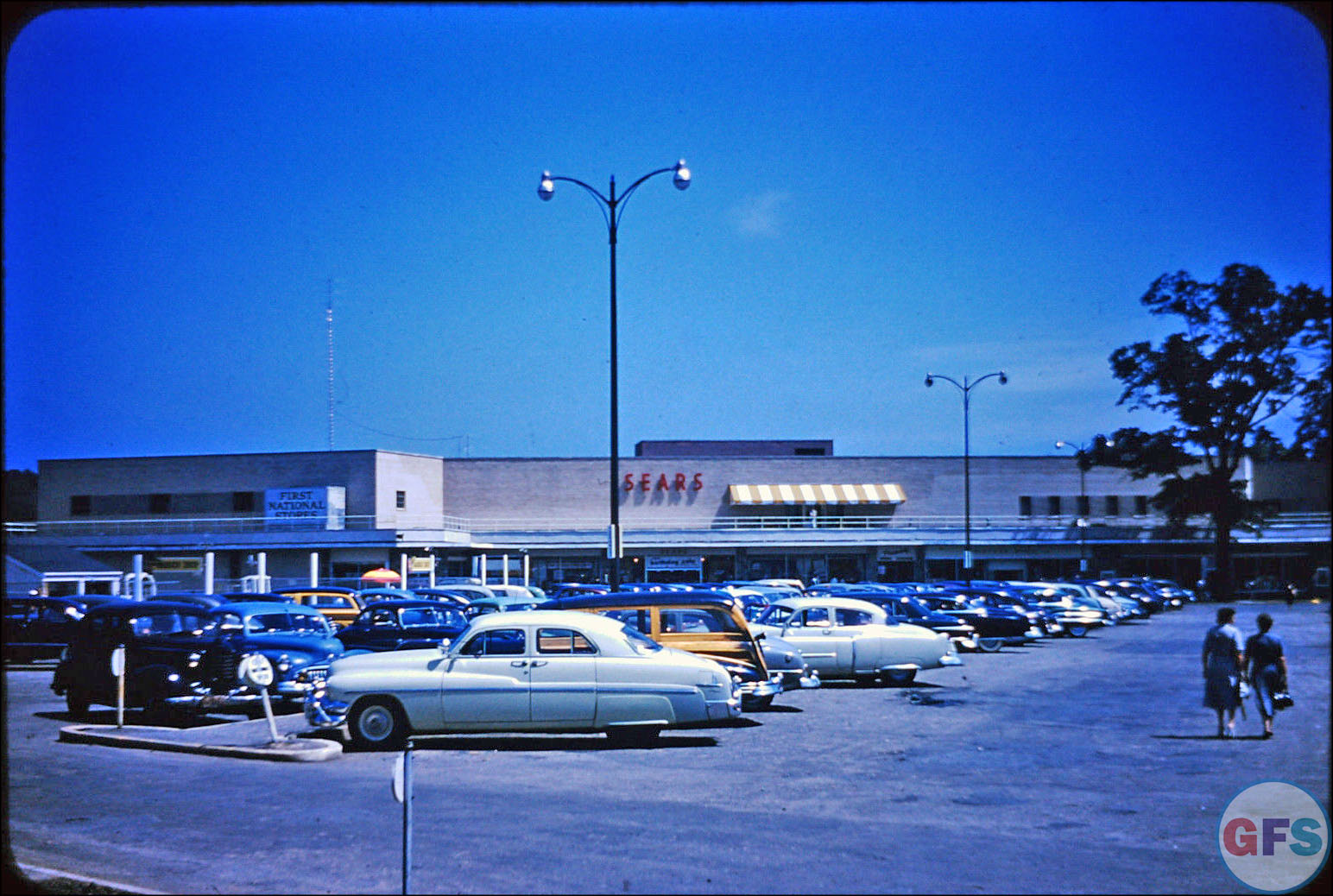 Vintage Kodachrome slide: Sears Parking Lot, 1940s