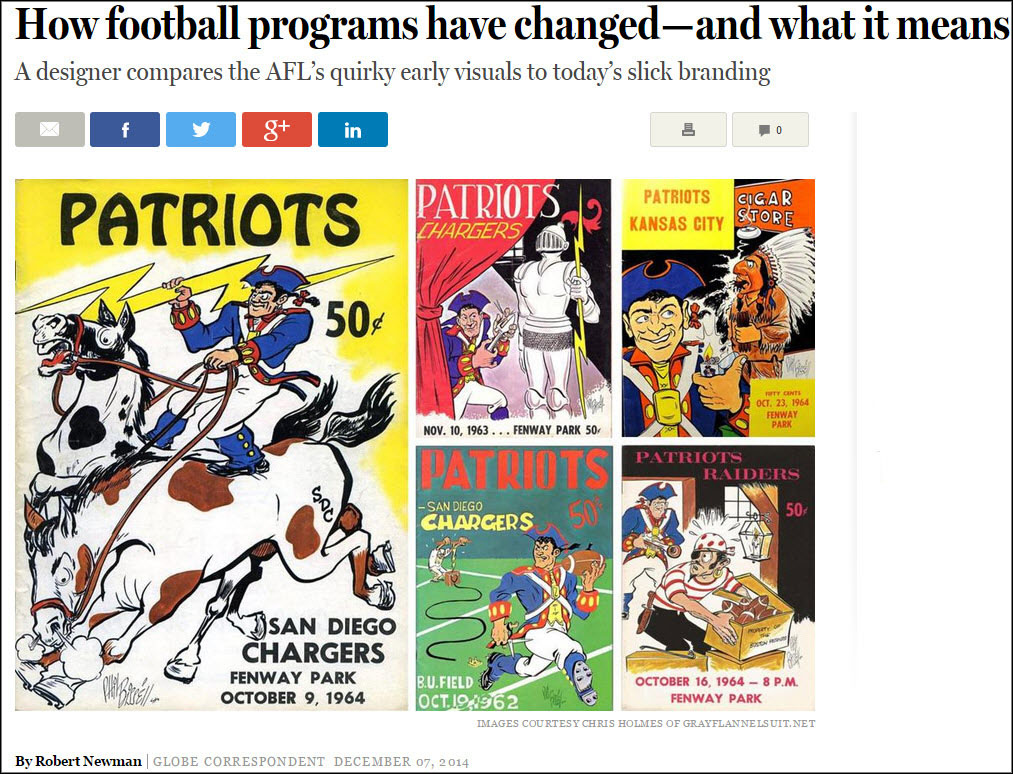 Boston Patriots AFL programs from The Press Room
