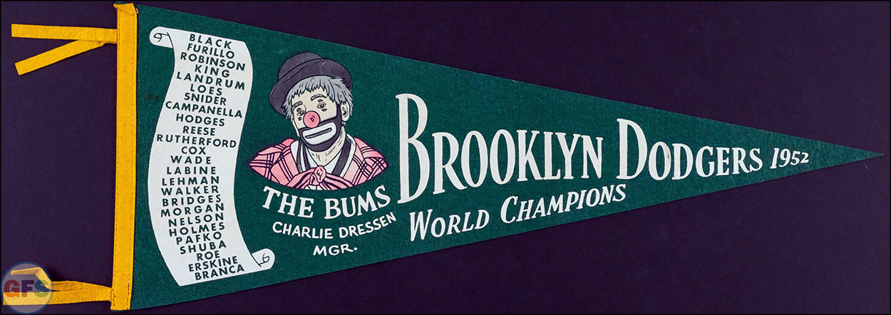 1952 Brooklyn Dodgers World Series Champions pennant