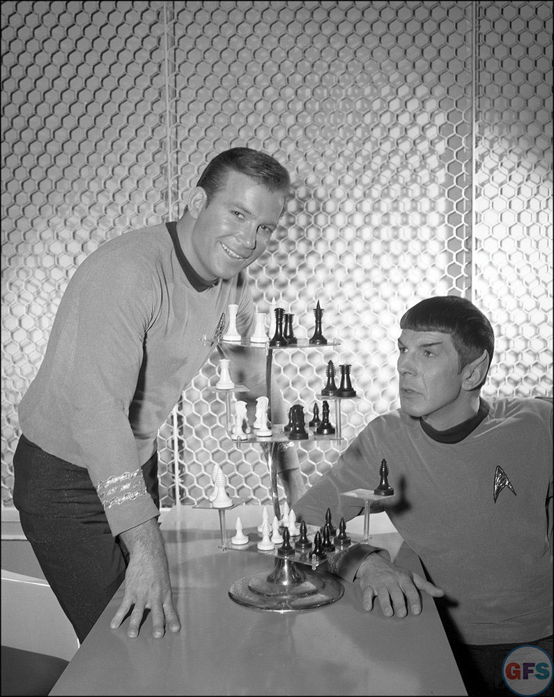 Mr. Spock (Leonard Nimoy) and Capt. Kirk (William Shatner) on the set of Star Trek: The Original Series