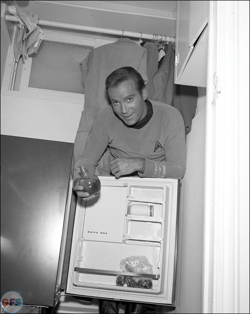 Capt. Kirk (William Shatner) on the set of Star Trek: The Original Series