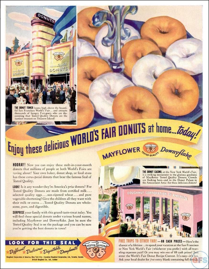 Mayflower Downyflake 1939 donut ad