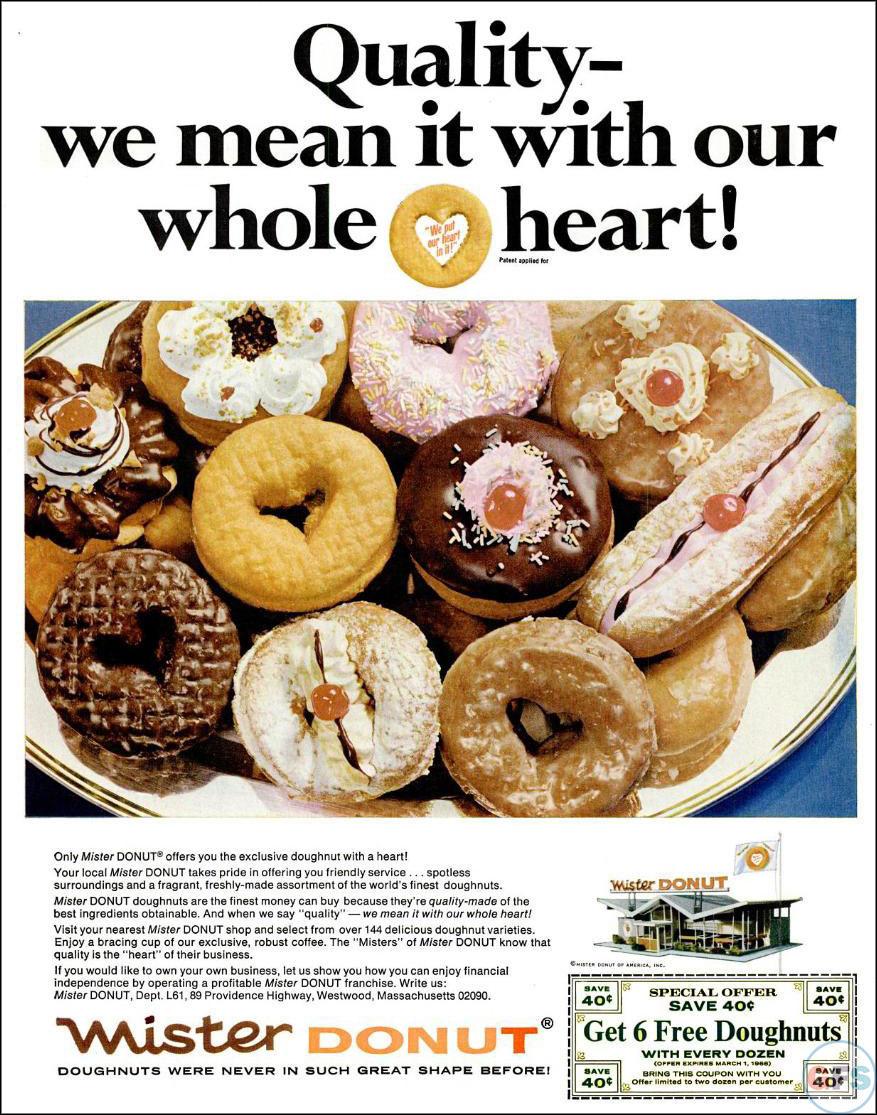 Mister Donut print ad, 1966