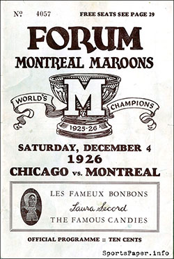 1926 Montreal Maroons NHL program
