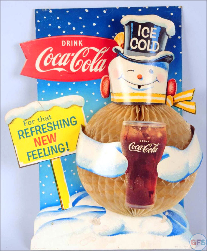 Vintage Coca-Cola advertising from the 1950s and 1960s - snowman