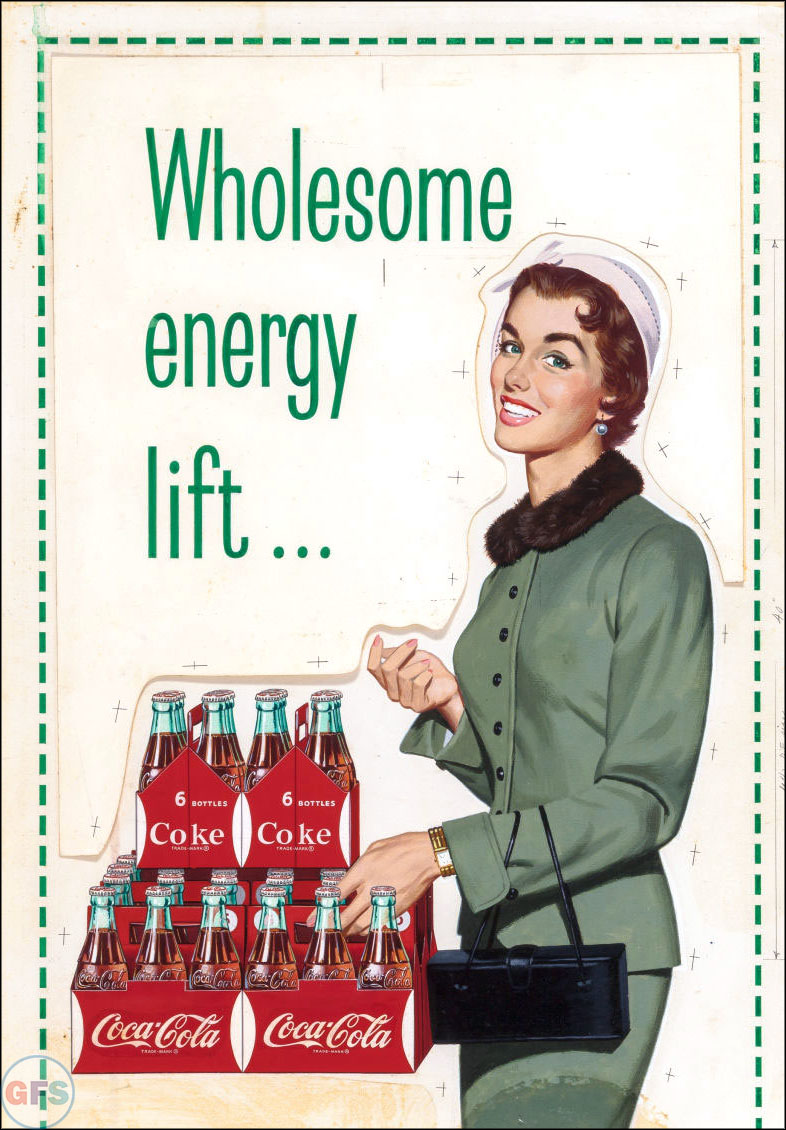 Vintage Coca-Cola advertising from the 1950s and 1960s - woman