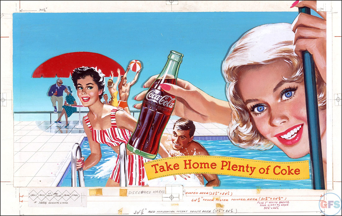 Vintage Coca-Cola advertising from the 1950s and 1960s - beach 2