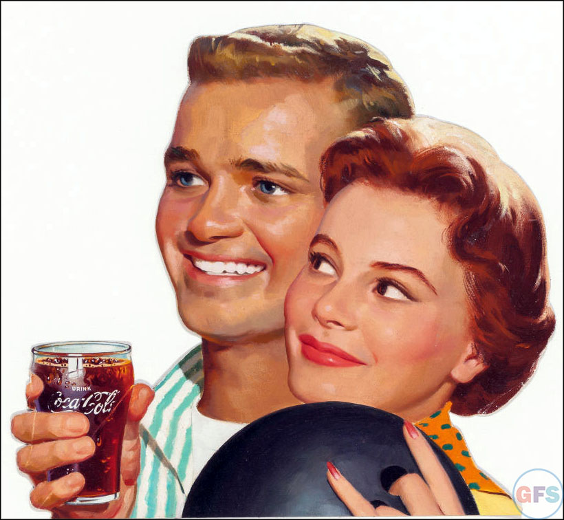 Vintage Coca-Cola advertising from the 1950s and 1960s - couple bowling
