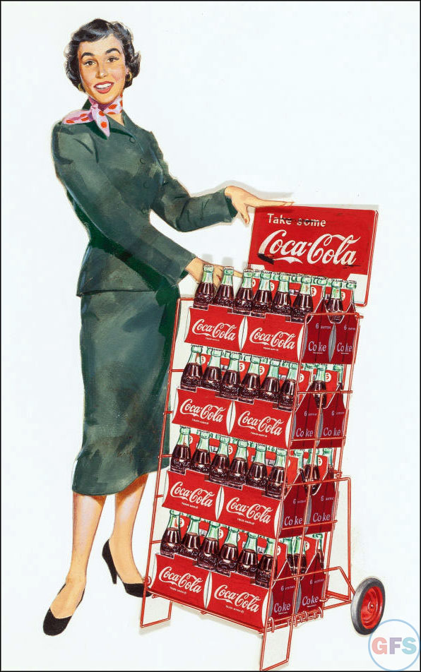 Vintage Coca-Cola advertising from the 1950s and 1960s - woman 2