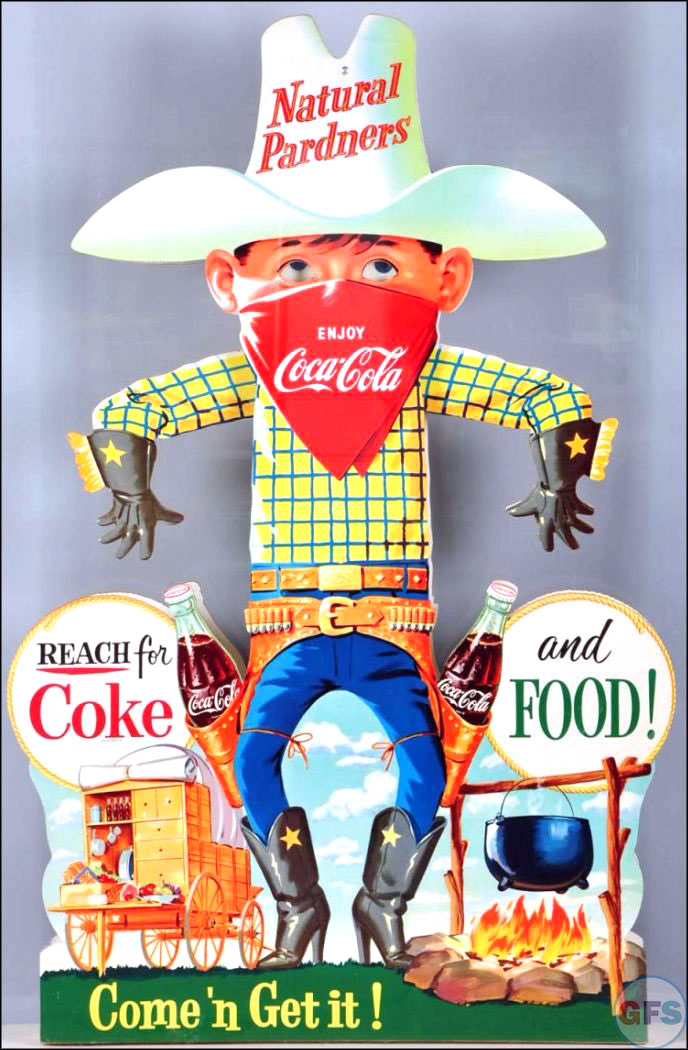 Vintage Coca-Cola advertising from the 1950s and 1960s - cowboy
