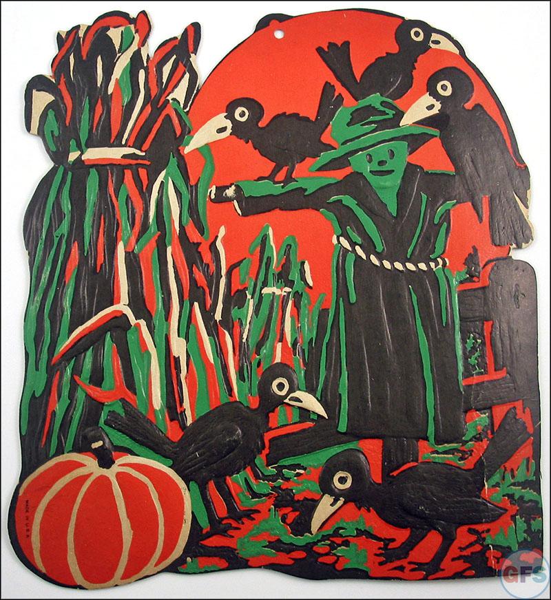 Vintage Beistle Halloween decoration - scarecrow in field