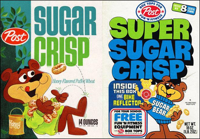 Super Sugar Crisp cereal boxes - 1966 & 1977