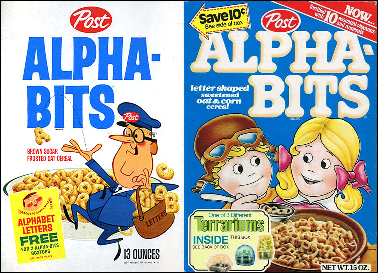 Alpha-Bits cereal boxes - 1964 & 1980