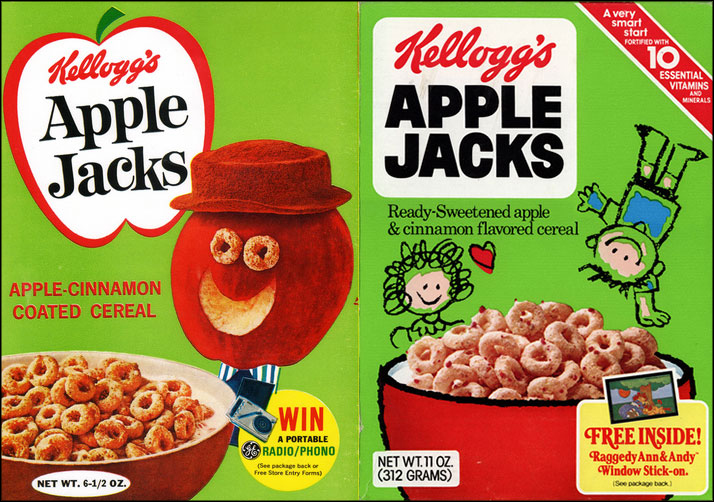 Apple Jacks cereal boxes - 1967 & 1980
