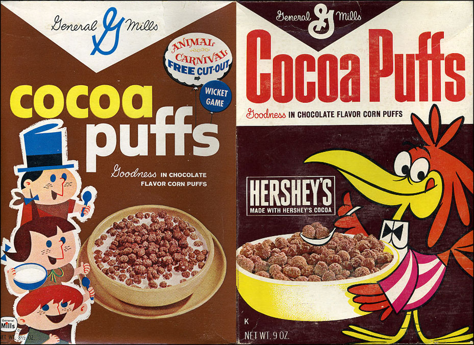 Cocoa Puffs cereal boxes - 1961 & 1967