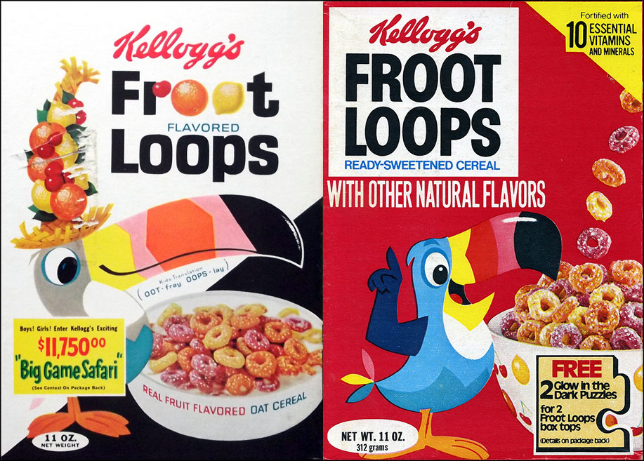 Froot Loops cereal boxes - 1965 & 1979
