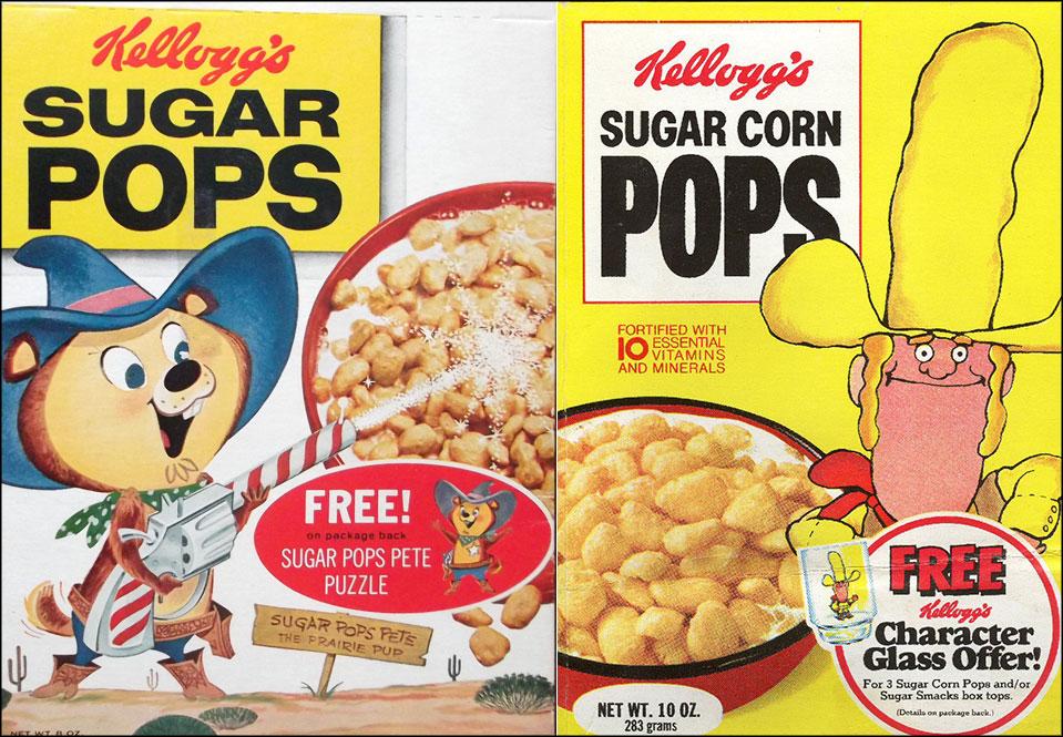 Sugar Pops/Sugar Corn Pops cereal boxes - 1959 & 1977