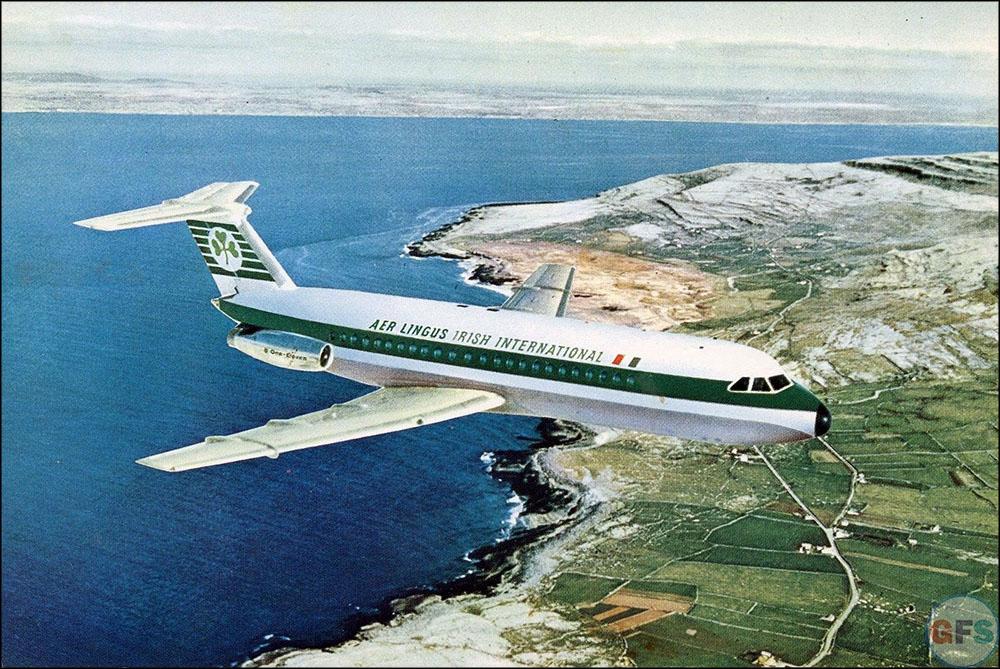 Aer Lingus BAC One-Eleven postcard, c. 1960s-70s