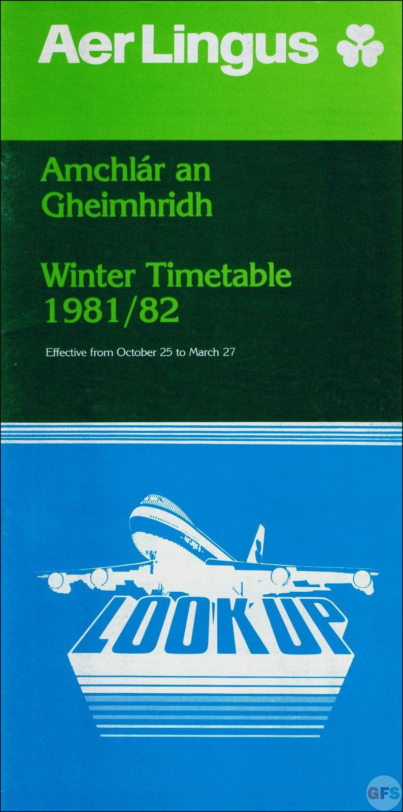 1981-82 Aer Lingus airline timetable