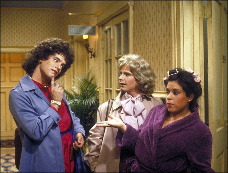 Bosom Buddies cast members Tom Hanks, Peter Scolari, and Wendie Jo Sperber