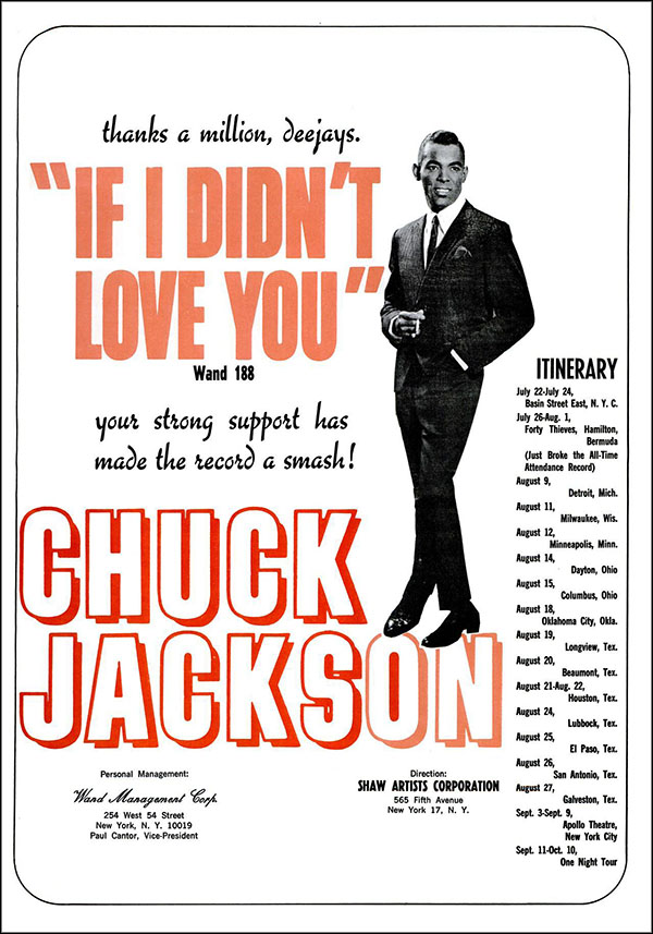 "vintage 1965 Billboard ad - Chuck Jackson - ""If I Didn't Love You"""