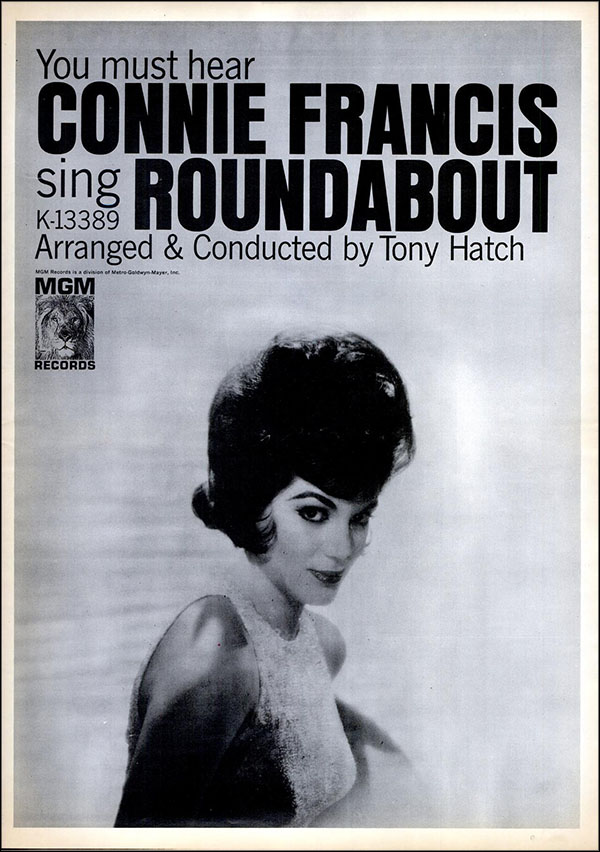 "vintage 1965 Billboard ad - Connie Francis - ""Roundabout"""