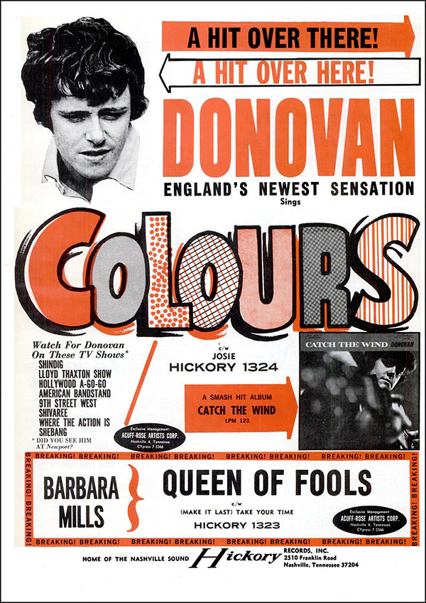"vintage 1965 Billboard ad - Donovan - ""Colours"""