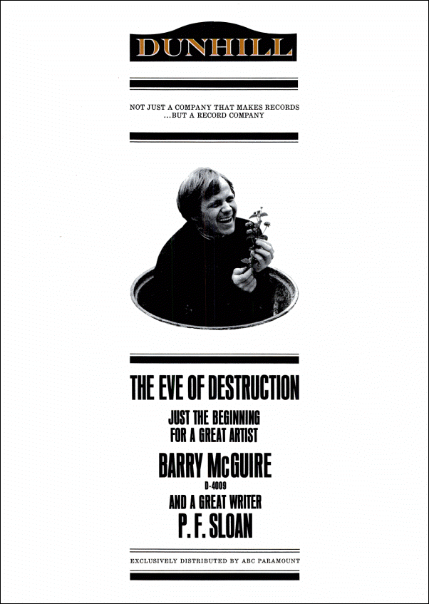 "vintage 1965 Billboard ad - Barry McGuire - ""Eve of Destruction"""