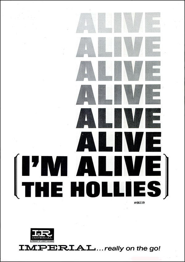 "vintage 1965 Billboard ad - The Hollies - ""I'm Alive"""