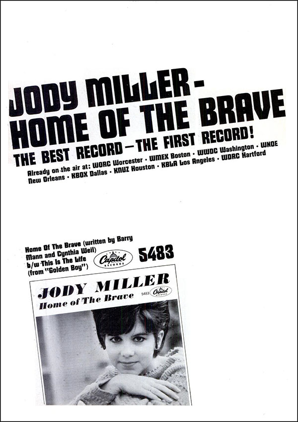 "vintage 1965 Billboard ad - Jody Miller - ""Home of Brave"""
