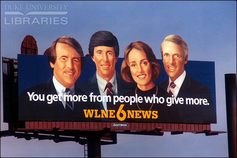 Vintage local news billboard, 1970s-1980s