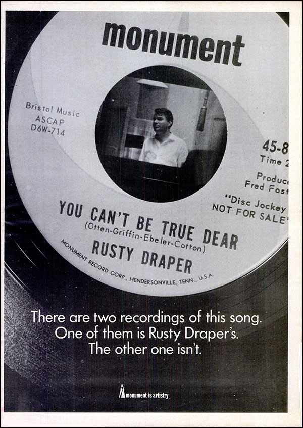 "vintage 1965 Billboard ad - Rusty Draper - ""You Can't Be True Dear"""