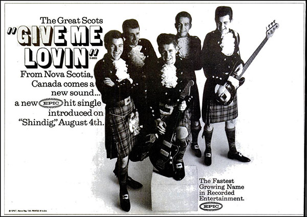 "vintage 1965 Billboard ad - The Great Scots - ""Give Me Lovin'"""