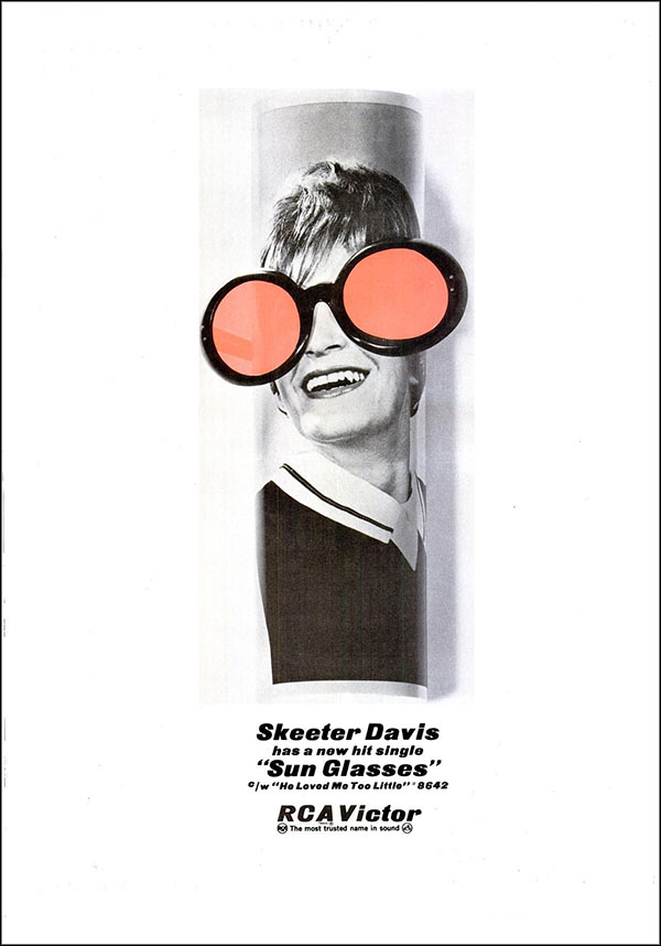 "vintage 1965 Billboard ad - Skeeter Davis - ""Sun Glasses"""