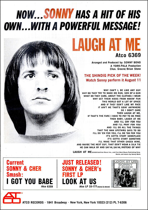 "vintage 1965 Billboard ad - Sonny Bono - ""Laugh At Me"""