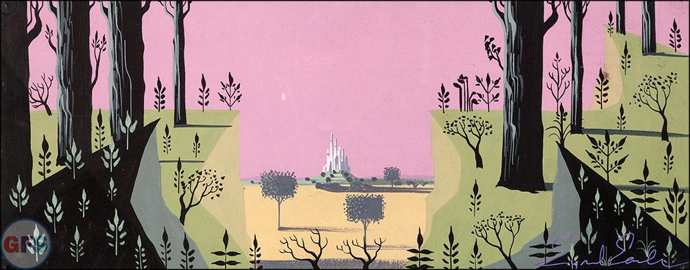 Eyvind Earle Sleeping Beauty Castle Concept Art Walt Disney, 1959