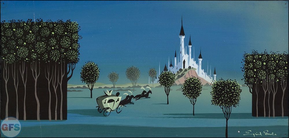 Eyvind Earle Sleeping Beauty Castle and Coach Concept Painting Walt Disney, 1959