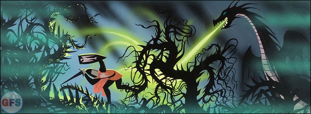 Eyvind Earle Sleeping Beauty Prince Phillip and the Dragon Concept Art Walt Disney, 1959