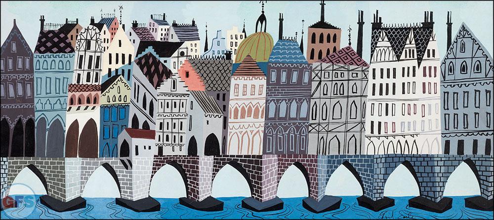 Eyvind Earle The Truth About Mother Goose London Bridge Concept Art Walt Disney, 1957