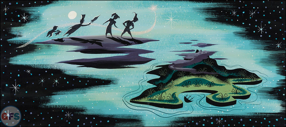 Mary Blair Peter Pan Children and Neverland Concept Painting Walt Disney, 1953