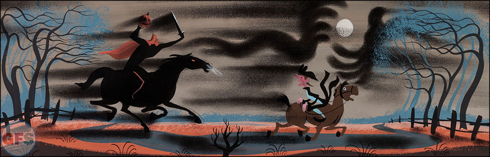 Mary Blair The Adventures of Ichabod and Mr. Toad Headless Horseman Concept Painting Walt Disney, 1949