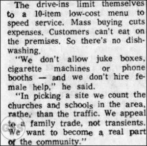 Ray Kroc 1959 quote on McDonald's not hiring women